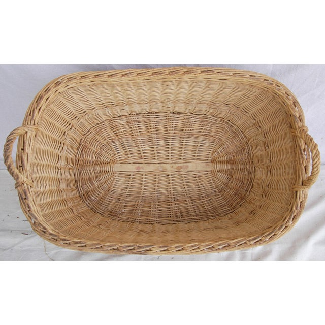 Vintage French Oval Wicker Market Basket - Image 7 of 10
