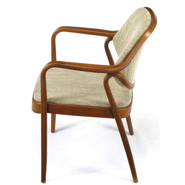 Image of Pair Don Pettit for Knoll Bent Mahogany Wood Arm Chairs Circa 1978