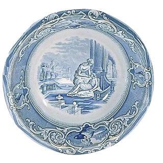 Antique English Ironstone Blue Ceramic Wash Bowl