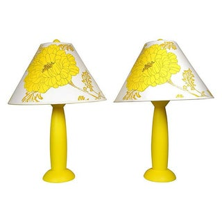 Yellow Floral Lamps with Custom Shades - Pair