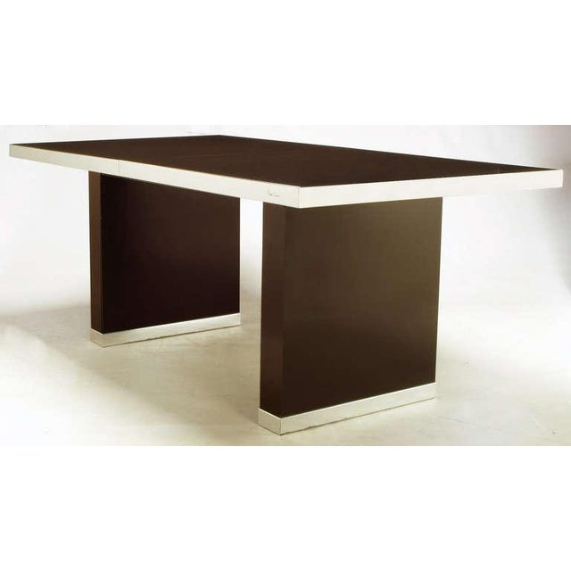 Pierre Cardin Chrome & Dark Chocolate Brown Dining Table - Image 4 of 7
