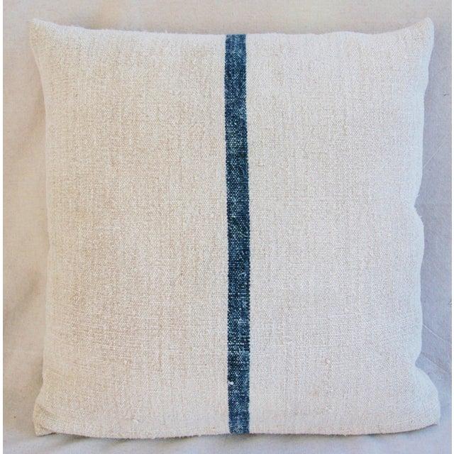 Image of Blue Stripe French Grain Sack Pillow