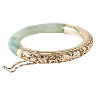Chased Sterling Silver and Jade Vintage Bracelet