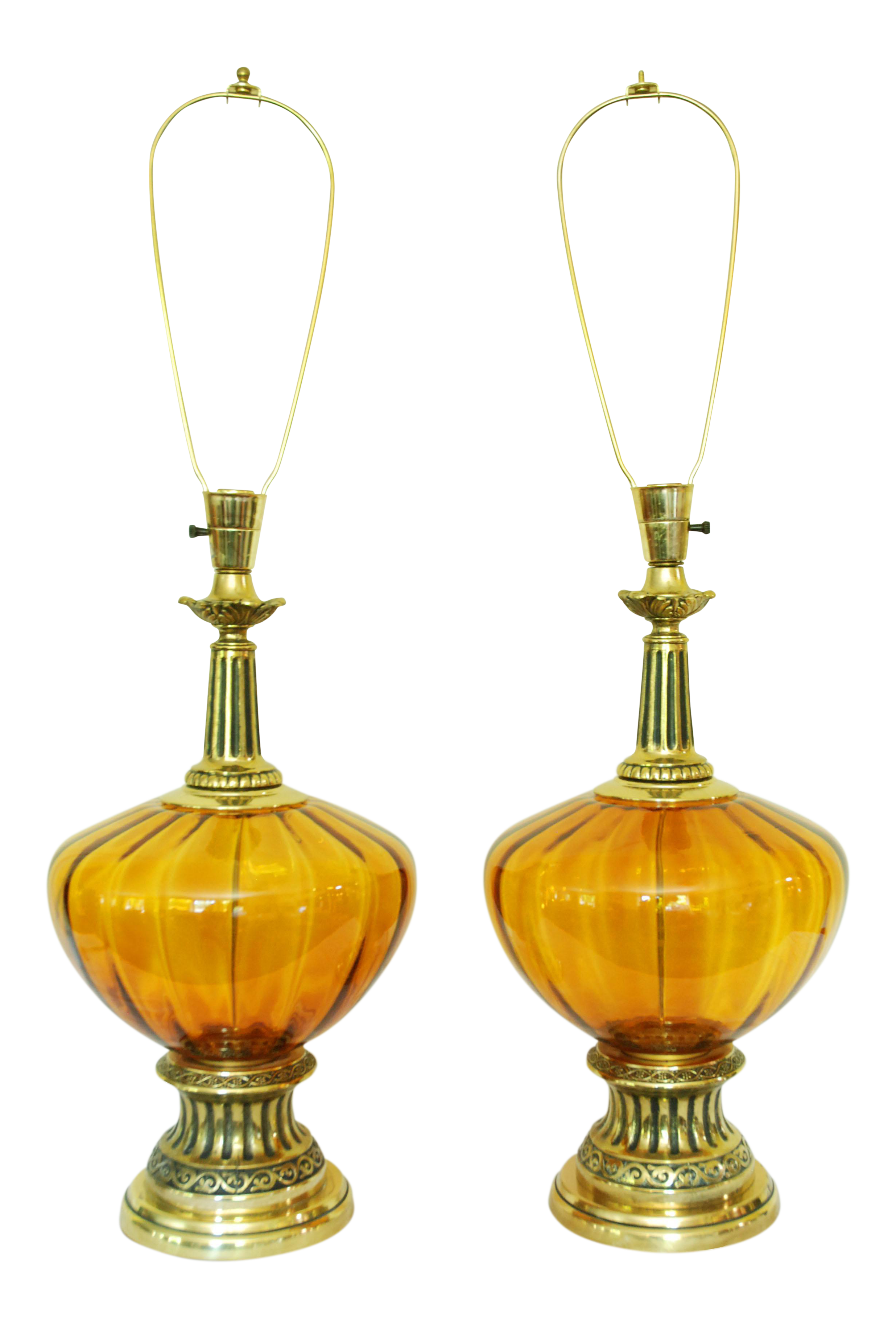 Mid Century Modern Amber Glass Lamps   A Pair