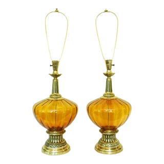 Mid-Century Modern Amber Glass Lamps - A Pair