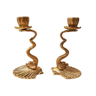 Cast Brass Sea Dragon Candle Holders - A Pair