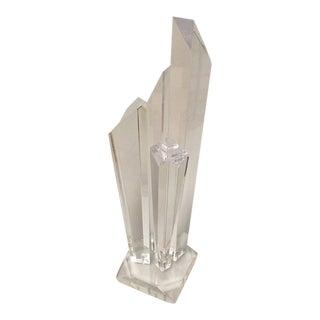 Tall Modern Geometric Lucite Sculpture