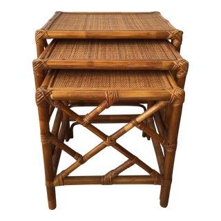 Vintage Rattan Nesting Tables - Set of 3