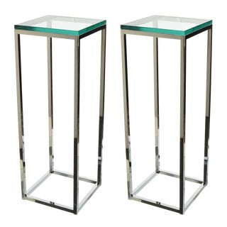 Milo Baughman Thin-Line Chrome & Glass Pedestals - a Pair