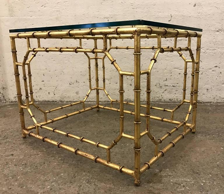 Pair Of Hollywood Regency Gilt Metal Faux Bamboo Tables   Image 2 Of 7