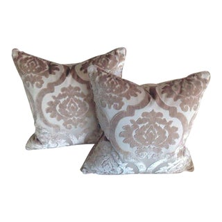 Silk Damask Velvet Pillows - A Pair