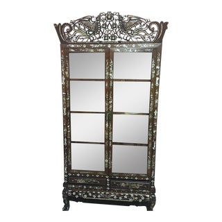 Rosewood Mother-Of-Pearl Inlay Display Cabinet