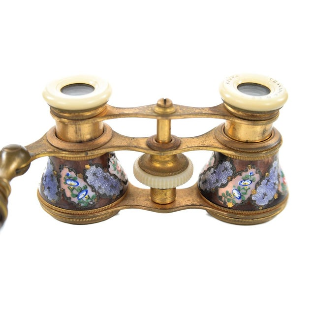 Image of Antique 19th C French Enamel & Brass Opera Glasses