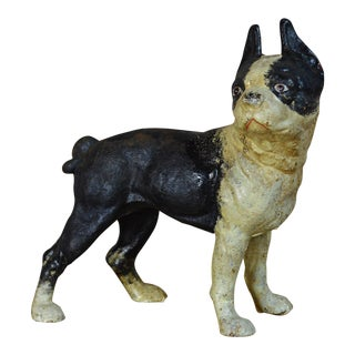 Vintage Cast Iron Boston Terrier Doorstop