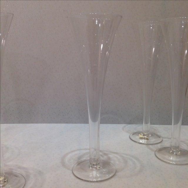Hollow stem trumpet champagne flutes set of 7 chairish - Champagne flutes hollow stem ...
