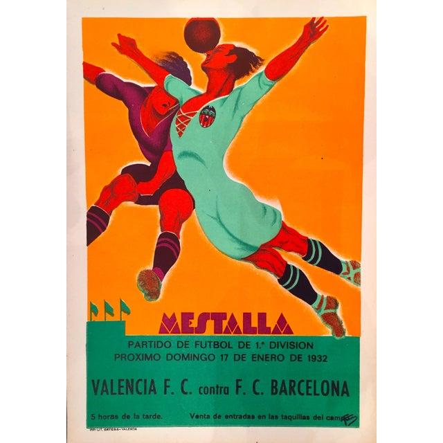 Vintage Spanish Soccer Poster, Valencia vs Real Madrid - Image 2 of 2