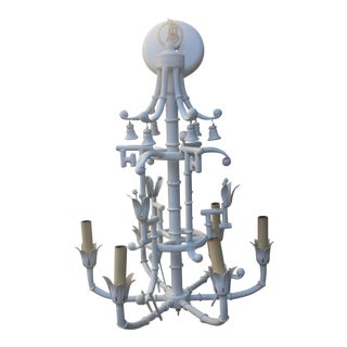 White Chippendale Chinoiserie Pagoda Bamboo White Chandelier