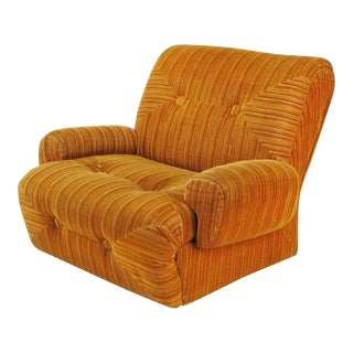 Art Deco Revival Club Chair In Orange Striped Cut Velvet