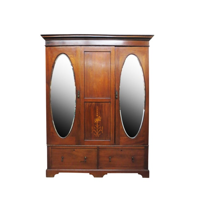 Inlaid Armoire W/ Mirrored Doors - Image 1 of 10