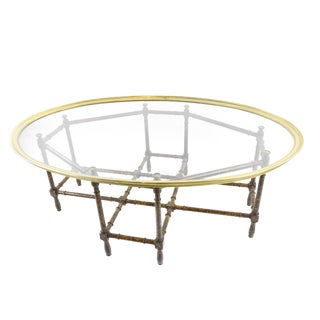 Baker Style Brass, Glass & Faux Bamboo Coffee Table