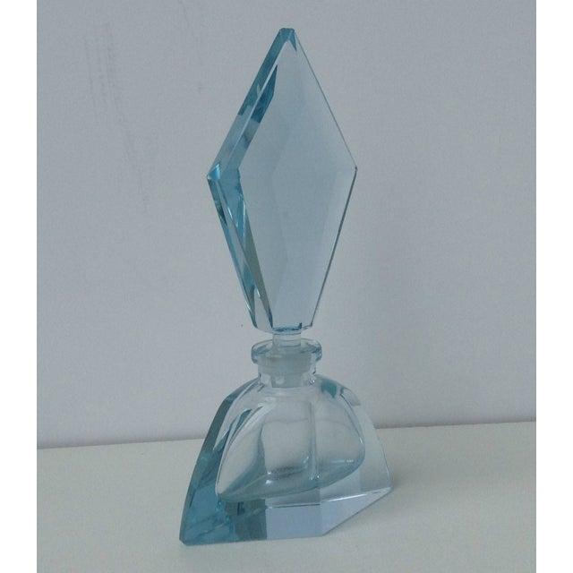 Czechoslovakian Light Blue Faceted Perfume Bottle - Image 5 of 11