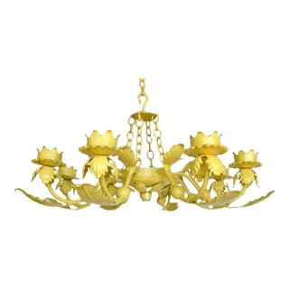 Painted Yellow Hand Wrought iron Leaf Chandelier