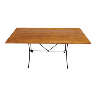 Birch Top Tavern Style Farm Table on Iron Base ~ AS IS ~