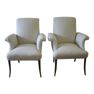 Art Deco Style Linen Upholstered French Chairs - A Pair