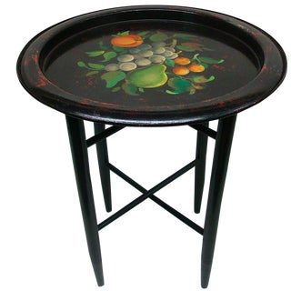Painted Fruit Tole Tray Folding Side Table