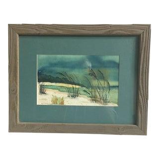 Framed Beach Scene Lithograph
