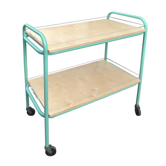 Image of Vintage Turquoise Industrial Rolling Bar Cart
