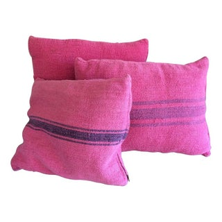 Pink Dyed Grain Sack Pillows - Set Of 3