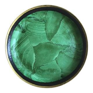 "Vintage 20"" Malachite Decoupage Tole Tray"