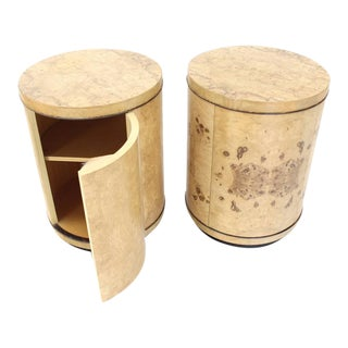 Pair of Cylinder Drum Shape End Tables Nightstands Burl Wood