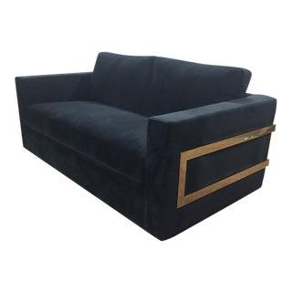 Modernist Black Velvet Sofa