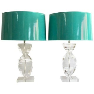 70's Karl Springer Style Lucite Table Lamps - Pair