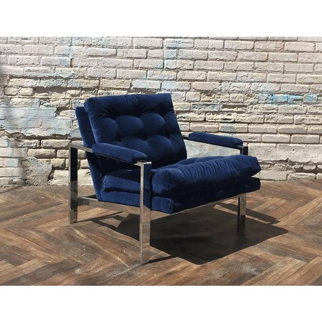 Milo Baughman Blue Velvet Club Chair - Image 2 of 5
