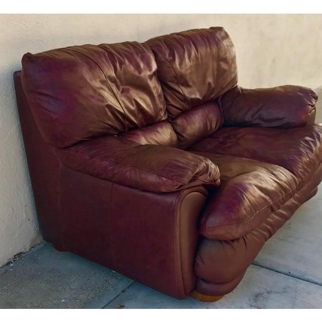 Klaussner Overstuffed Bonded Leather Loveseat - Image 4 of 10