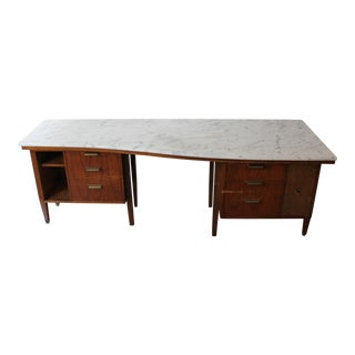 Mid-Century Marble Top Executive Desk