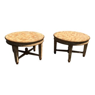 Kreiss Furniture Crackle Finish Round Designer End Tables - a Pair