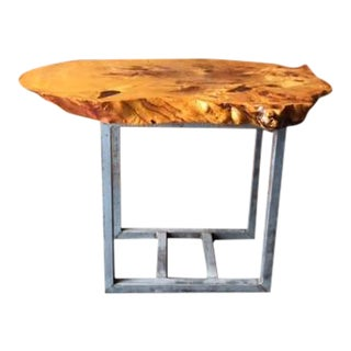 Burl Maple Slab Table With Raw Steel Base