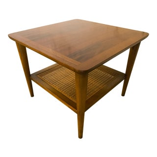 Mid-Century Vintage Lane Walnut & Caning Accent Table