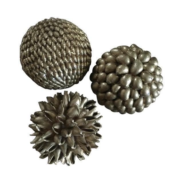 Gold Decorative Shell Balls - Set of 3 - Image 1 of 5