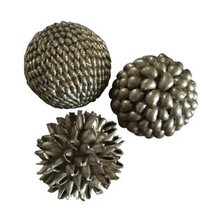 Gold Decorative Shell Balls - Set of 3