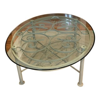 Ethan Allen Oval Iron & Glass Cocktail Table