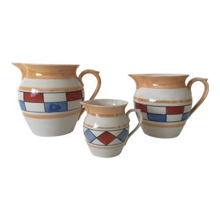 Vintage Art Deco Czechoslovakia Porcelain Pitchers - Set of 3