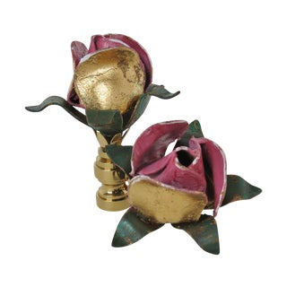 Vintage Red, Pink & Gold Tole Rose Finials - Pair