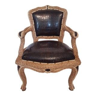 Antique Italian Crocodile Vinyl Roped Accent Chair