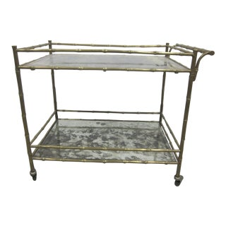 French Brass Faux Bamboo Drinks Cart by Bagues