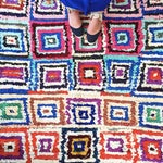 Image of Moroccan Boucherouite Colorful Rug - 4'2 x 6'6''